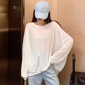 【トップス】カジュアル無地ゆるリラックスラウンドネックTシャツ43176295