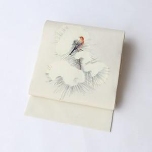 1775 未使用◆冬鳥ジョウビタキ◆ちりめん名古屋帯