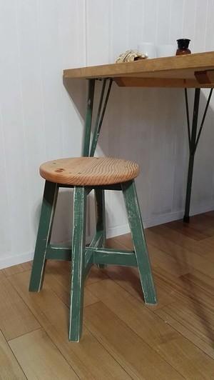 丸スツール 木製丸椅子  (ミントグリーン×アンティークパイン:43cm)