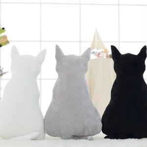 予約 猫クッション 猫型 ねこ ネコ ふわふわ シンプル 無地 にゃんこ ぬいぐるみ 抱き枕 可愛い かわいい インテリア キャット ブラック グレー ホワイト cw-a-5696