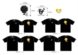 muguet feerique Tシャツ(黒 × ゴールド)