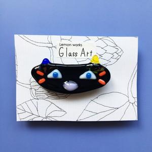 グラスアートれもんのガラスブローチ <NO.2…黒ネコ>