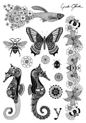 Tattoo Sticker <Seahorse & Guppy>