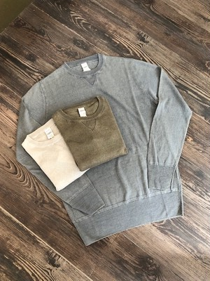 """G.R.P KNITWEAR    """"LINEN CREW NECK SWEATER with FRONT V GUSSET(LINEN 100%)"""""""