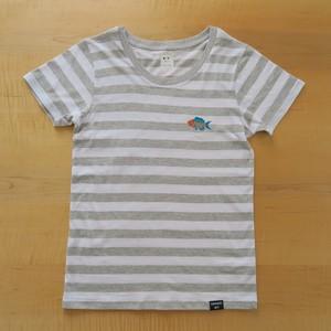 NEW! 2017レディースボーダー刺繍Tシャツ GRAY さかな