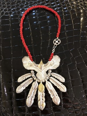 Eagle necklace with feathers