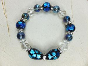ホタルガラス&カット水晶&アクアオーラブレスレット bh-0023