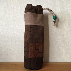 ボトルケース-10 刺繍黄緑 アマゾンの泥染め 水筒入れ