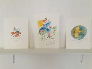 溝上幾久子 'Peace,Peace,Peace' watercolor