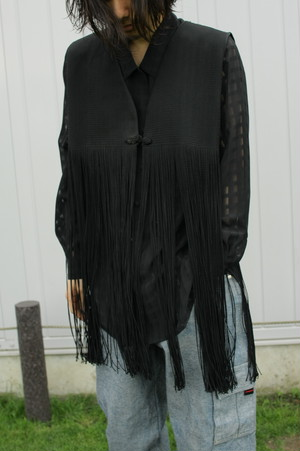 Long Fringe Poly Knit Vest