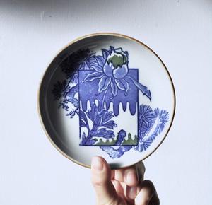 【絵付小皿】芍薬 松 蕾 青絵付け 緑絵付け ハンドメイド
