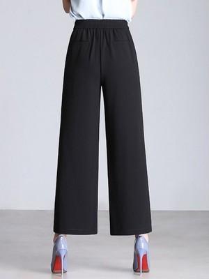 【bottoms】Simple casual chiffon wide leg pants