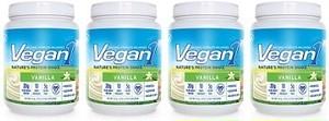 [Vegan1] ビーガンワン-バニラ味, 15杯分-ボトル4本, 天然のプロテインシェイク