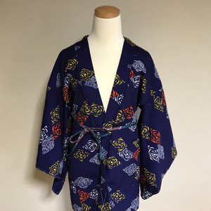 HAORI polyester Blue × flowers pattern White Orange Yellow