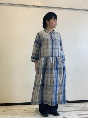 ICHI Antiquites インディゴリネンチェックドレス