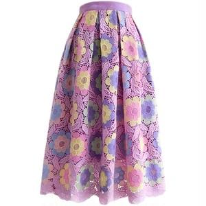 パープルピンクフラワーレースフレアスカート
