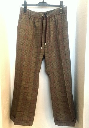 Glen Check Baggy Trousers Beige