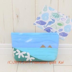 ハワイアンキルトで作るポーチ ラニカイビーチに咲くナウパカの Kaiオリジナルキット とっても可愛いです♡