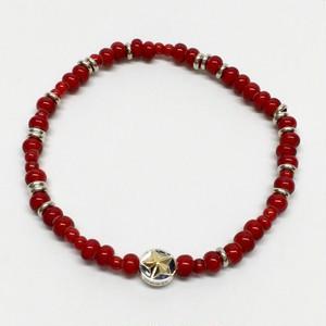 amp japan/White Hearts Circle Star Bracelet -Red-