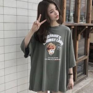 【即配】レトロプリントTシャツ 【アーミーグリーン】