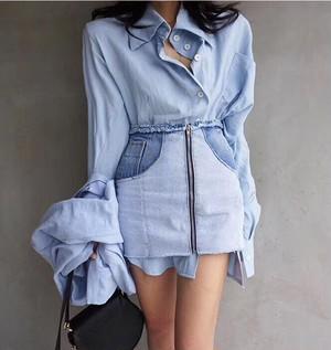 ビッグシャツハイウェストデニムスカートセット