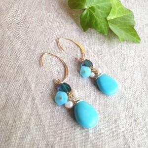 Boucles d'oreilles turquoises〜トルコ石のピアス