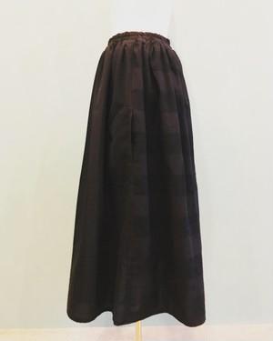ウネ織 ストライプ×ボーダー ギャザースカート BLACK