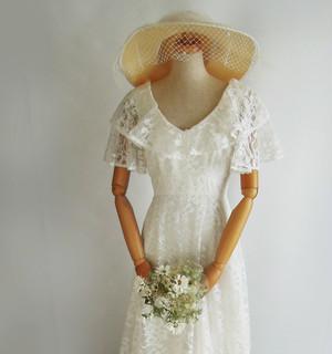 70's 総レースのフレア半袖ドレス。