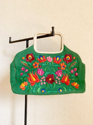 バッグ green felt flower bag