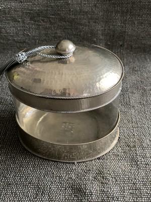 モロッコの白銅小物入れ ガラスタイプ