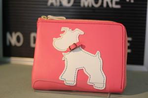 L字型ミニ財布 ピンク✖シュナホワイト(ピンク首輪付き)