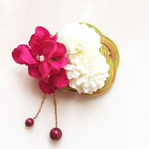水引と和花のヘアクリップ