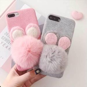 ファー マウス 可愛い iPhone シェルカバー ケース グレー ピンク キュート ★ iPhone 6 / 6s / 6Plus / 6sPlus / 7 / 7Plus / 8 / 8Plus / X ★ [MD138]