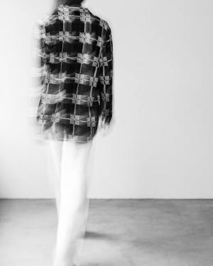 1990s spangle plaid linen shirt