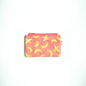 Ashi|亜紙 Flat Pouch S*Banana Pink 紙ポーチ フルーツ柄 バナナ ハンドメイド