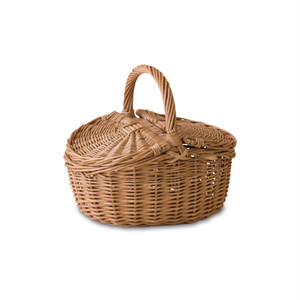 Natural material basket with lid  S