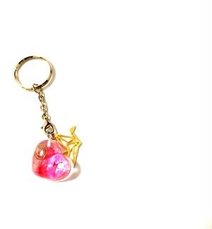オルゴナイト ぷっくりハート(ピンク・金の鶴)