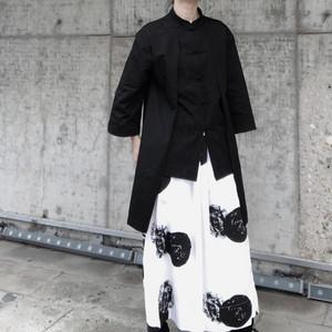 ゴスロリ系 シャツ 中華風 マオカラー 半袖 フェイクレイヤ  羽織り 病み可愛い ゴシック オルチャン 原宿系 10代 20代