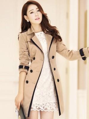 【アウター】折り襟長袖配色ダブルボタンリボン飾りトレンチコート17894307