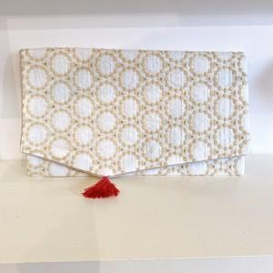 フリーケース 帛紗 オフホワイト サークル刺繍