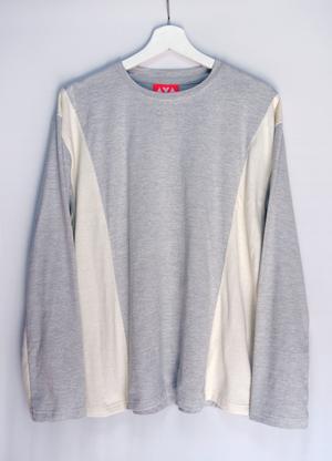 炭と麻と綿の切り替え長袖シャツ