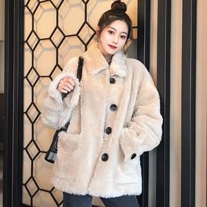 【アウター】秋冬ファッションchicゆったりボアシングルブレストジャンパー
