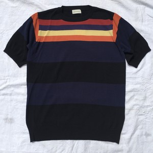 FACTOTUM ファクトタム / Compact Twist Border Crew Neck 12G / BLACK