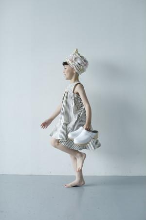 tail wind dress アイボリー×ネイビー Mサイズ