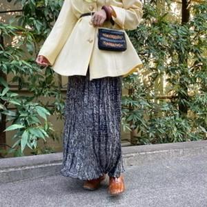 (LOOK) pleats see-through long tight skirt
