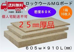 個人宅配送不可(送料無料)ロックウール ボード品 厚み25ミリ 605ミリx910ミリ 1箱16枚入 密度80K 断熱・吸音材に