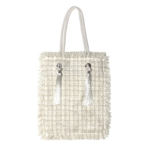 【 Re:n 】 Fancy tweed tote bag White