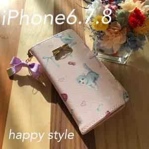 キャット柄iPhone6.7.8共通手帳型ケース✨iPhone8