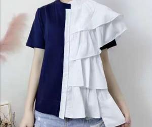 【アパレル・トップス】フリルシャツ&Tシャツ ドッキング 前ボタントップス・ネイビー