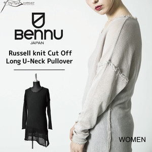 【BENNU】Cotton Russel Knit Cut-Off Long Pullover